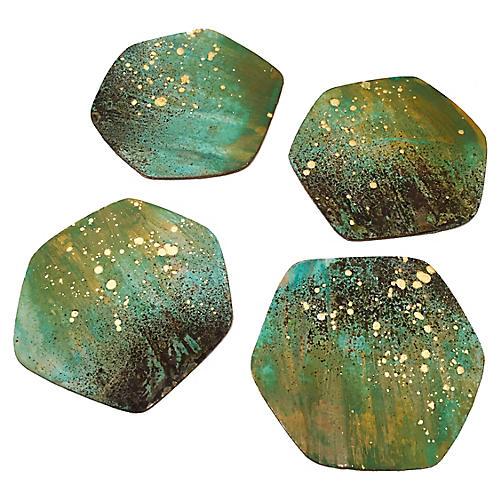 S/4 Patina Coasters, Green/Gold