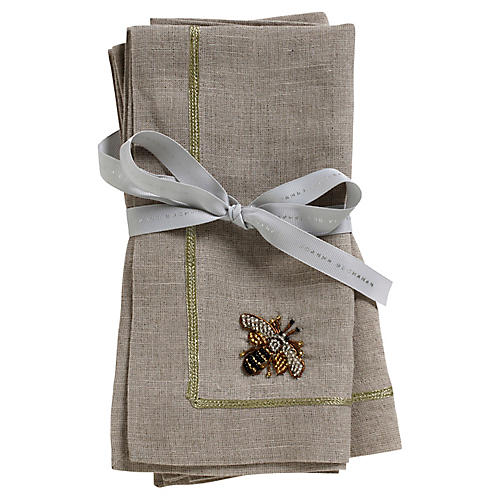 S/2 Bee Dinner Napkins, Flax/Gold