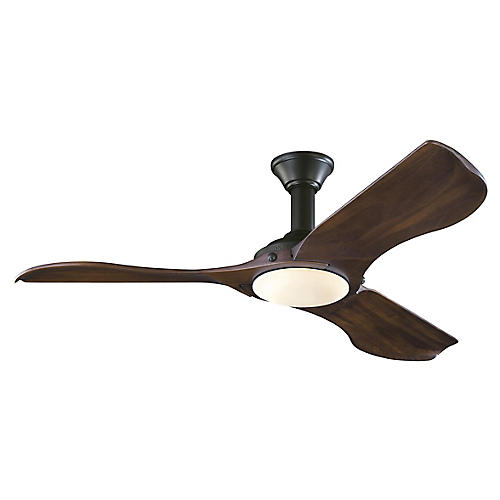 Minimalist Ceiling Fan, Dark Walnut/Black