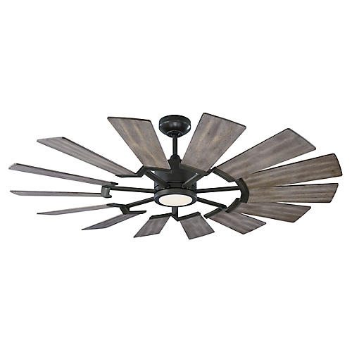Prairie LED Ceiling Fan, Aged Pewter