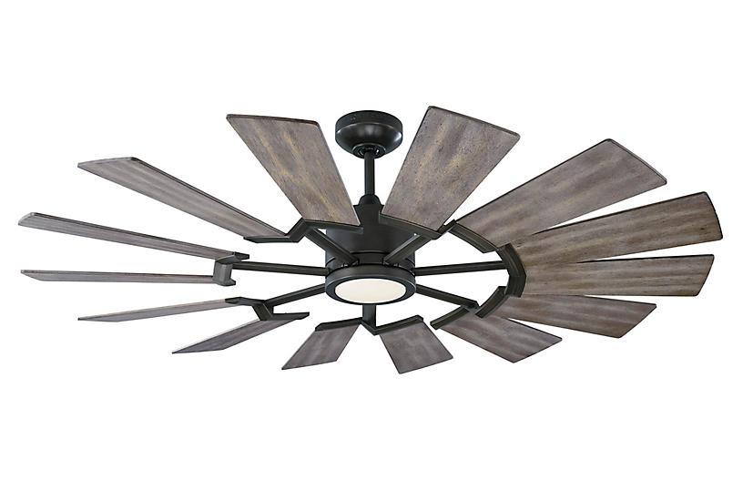 Prairie LED Ceiling Fan, Aged Pewter