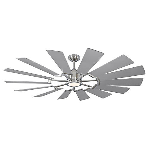Prairie Grand Ceiling Fan, Brushed Steel