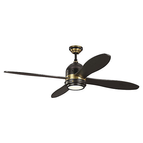 Metrograph Ceiling Fan, Antiqued Brass