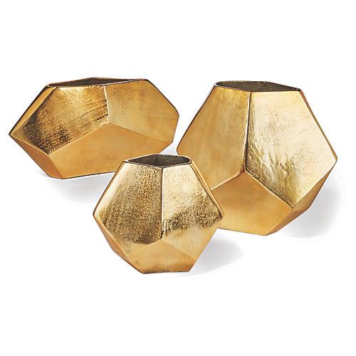 Asst. of 3 Maya Contemporary Vases, Gold
