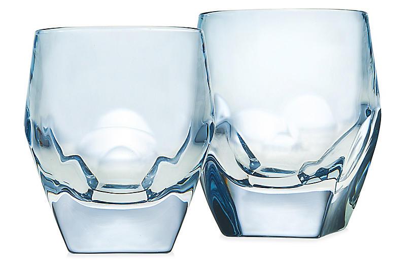 S/2 Symone DOF Glasses, Blue
