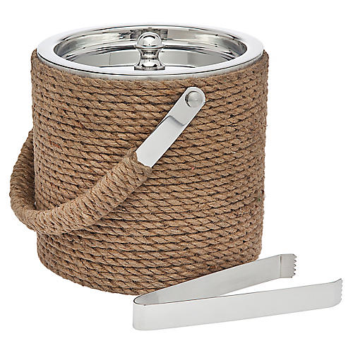 Rope Ice Bucket, Silver/Tan