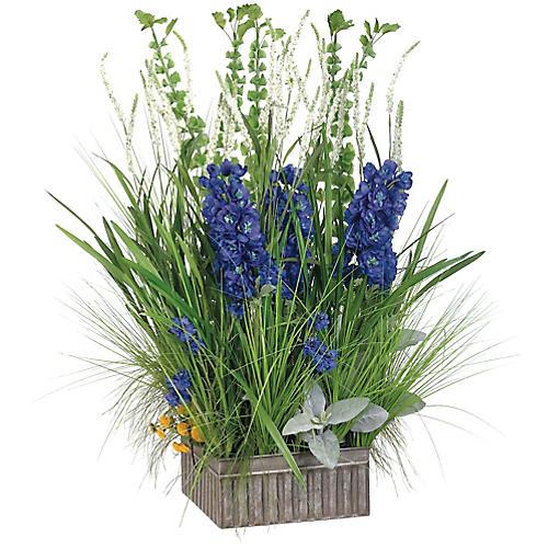 """40"""" Delphinium & Grass Arrangement, Faux"""