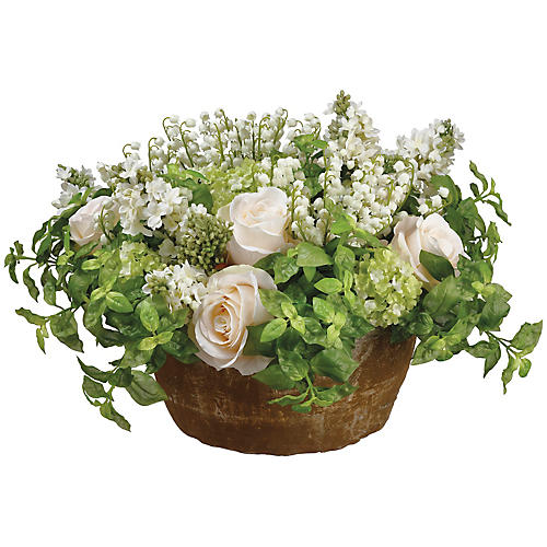 """21"""" Lily of The Valley Arrangement, Faux"""