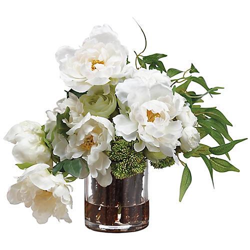 "16"" Peony & Ranunculus Arrangement w/ Vase, Faux"