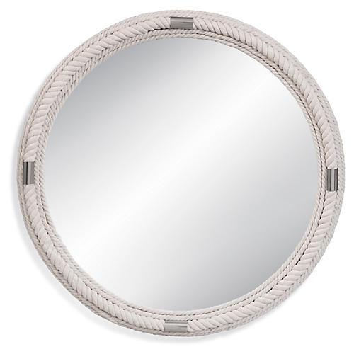 Largo Round Wall Mirror, White