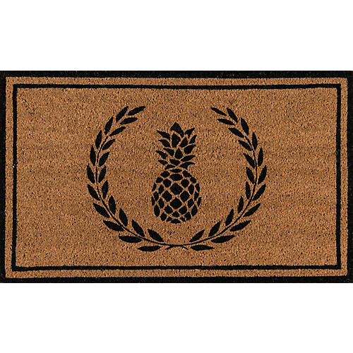"1'6""x2'6"" Pineapple Doormat, Black"