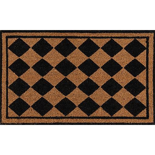 """1'6""""x2'6"""" Harlequin Diamond Doormat, Black"""