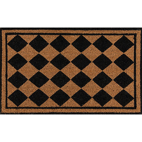 "1'6""x2'6"" Harlequin Diamond Doormat, Black"