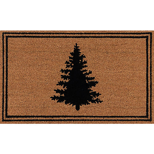 "1'8""x2'9"" Evergreen Silhouette Doormat, Black"