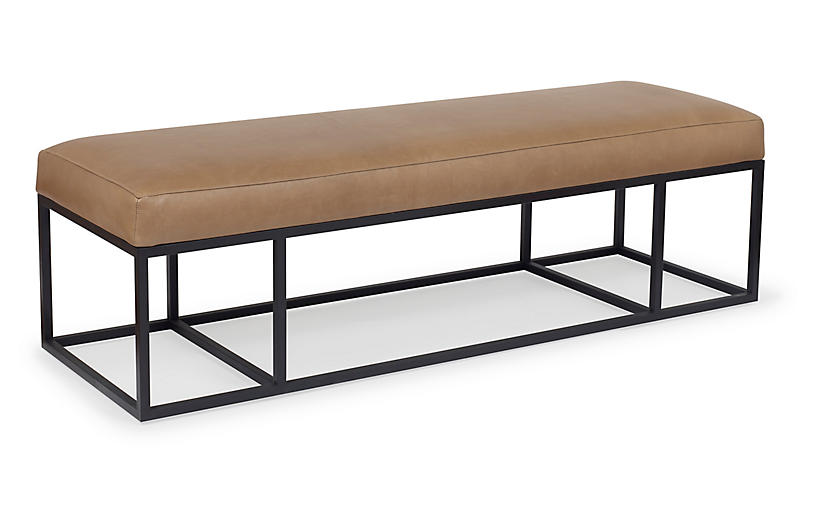 Finley Bench, Black/Caramel Leather