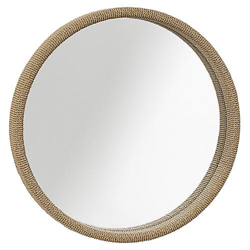 Capri Round Mirror, Praline Rope