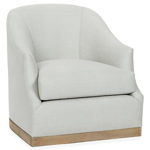 Brooke Swivel Club Chair, Sea Glass Linen