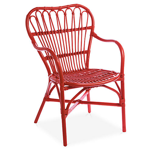American Revival Accent Chair, Red