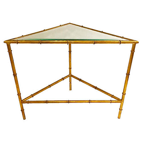 Triangle Side Table, Antiqued Gold
