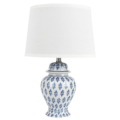 Ginny Table Lamp, Blue/White