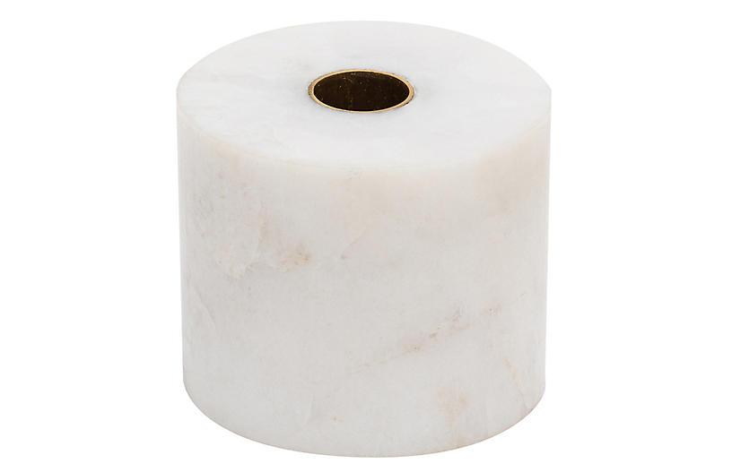 Pedestal Quartz Candlestick, White