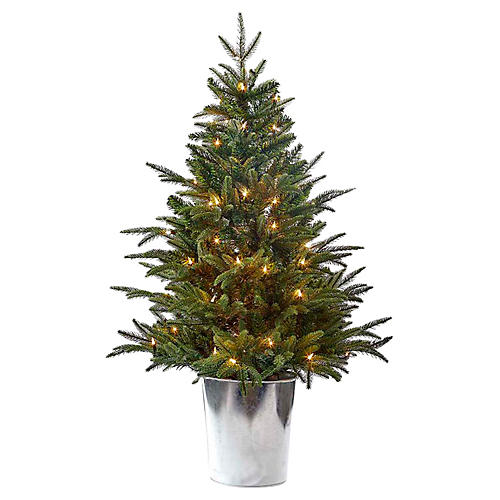 Potted Pre-Lit Tree, Faux, Green