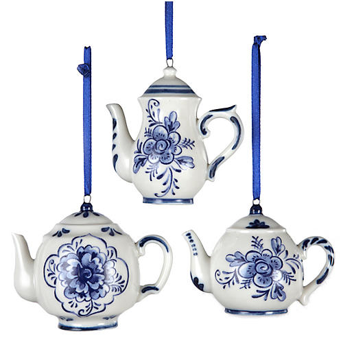 Asst. of 3 Teapot Ornaments, Blue/White