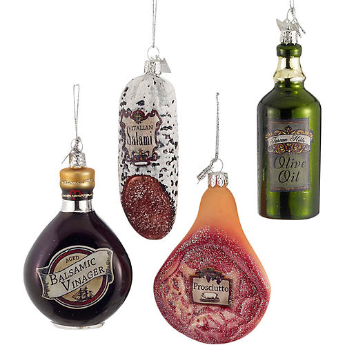Asst. of 4 Italian Food Ornaments, Brown