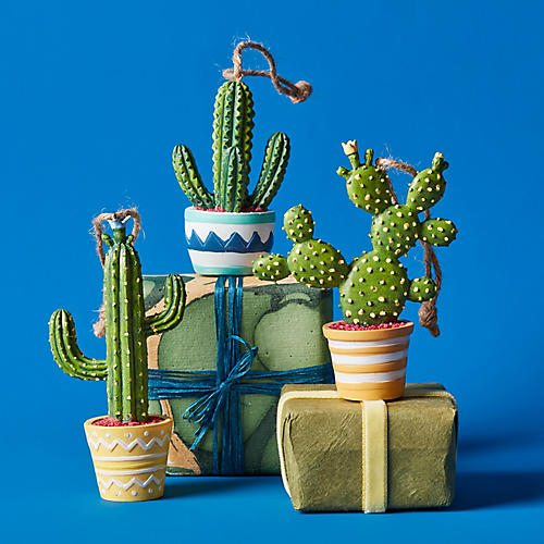 Asst. of 3 Festive Cactus Ornaments, Green/Multi
