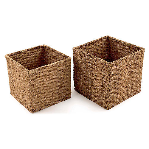 Asst. of 2 River Hyacinth Baskets, Natural
