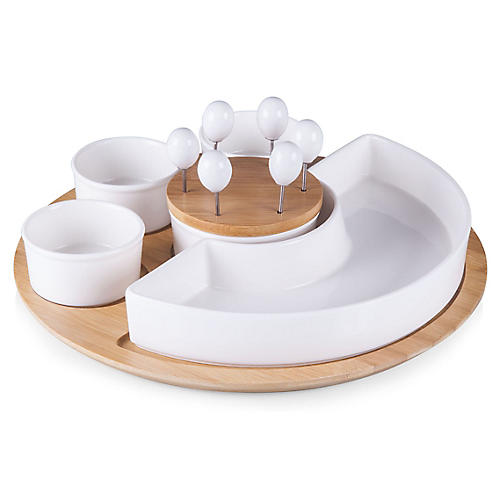 Symphony Serving Tray Set, White/Natural
