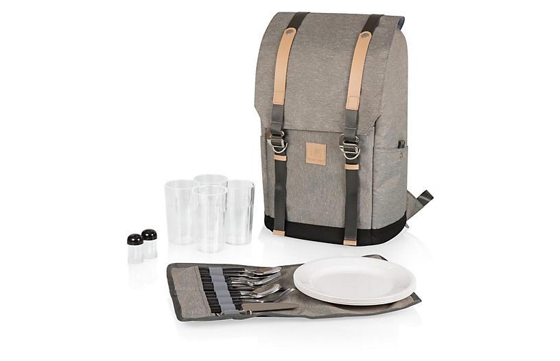 Teton Backpack Cooler Set, Heathered Gray