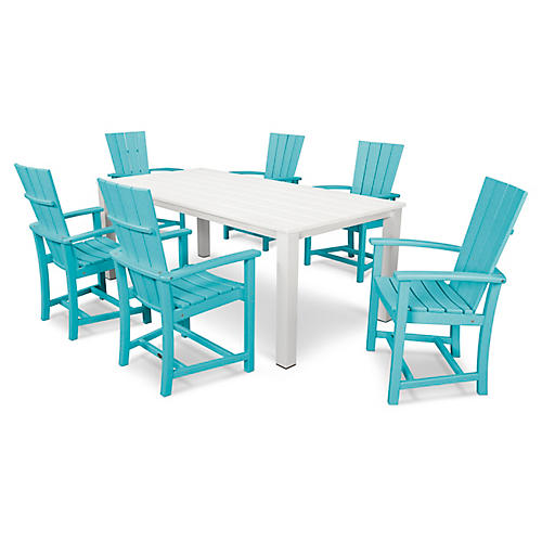 Quattro 7-Pc Dining Set, Aruba/White