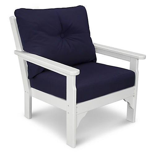 Vineyard Club Chair, Navy Sunbrella
