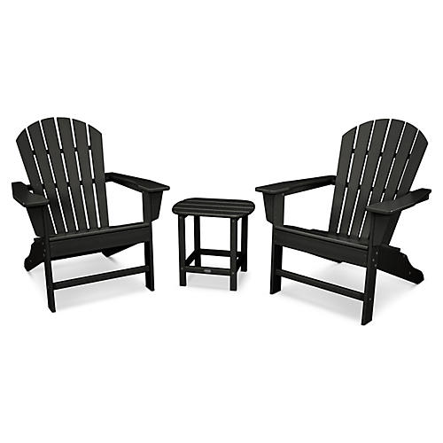 South Beach 3-Pc Adirondack Set, Black