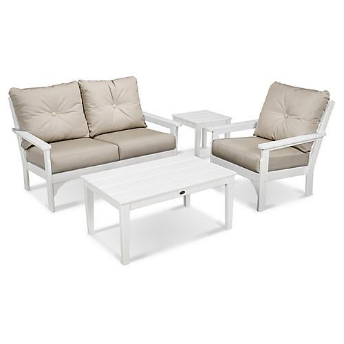 Vineyard 4-Pc Small Lounge Set, Ash Sunbrella