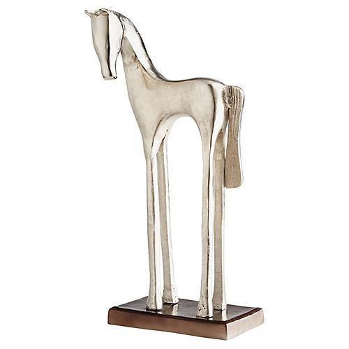 "24"" Trotter Horse Sculpture, Nickel"