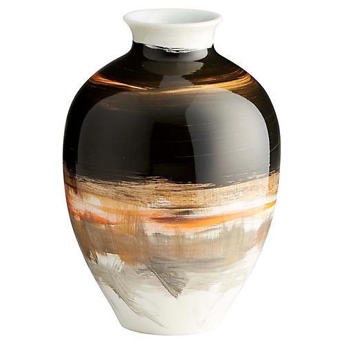 """9"""" Paintbrush Small Vase, Onyx/Multi"""