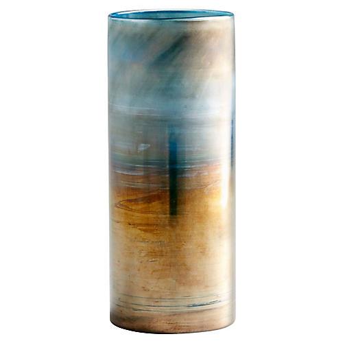 "12"" Reina Large Vase, Sky/Pyrite"