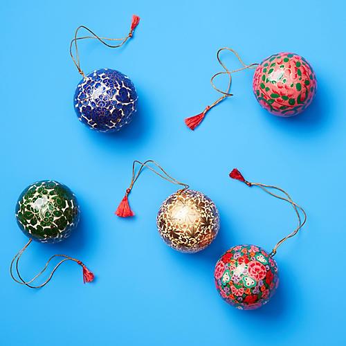 Asst. of 5 Papier-mâché Ball Ornaments, Gold/Multi