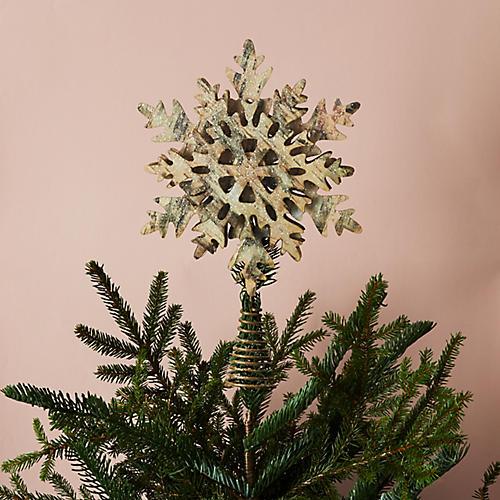 Snowflake Tree Topper, Gold