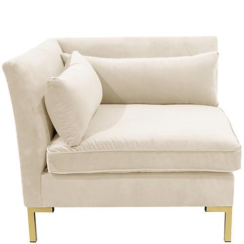 Marceau Corner Chair, Cream Velvet
