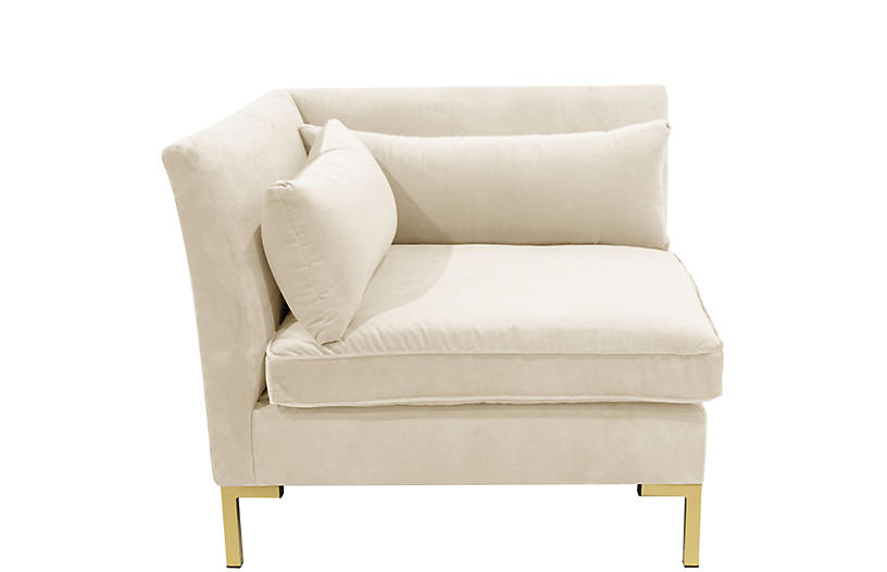 Marceau Corner Chair, Cream Velvet