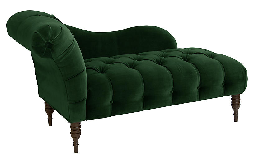 Frances Tufted Chaise, Emerald Velvet