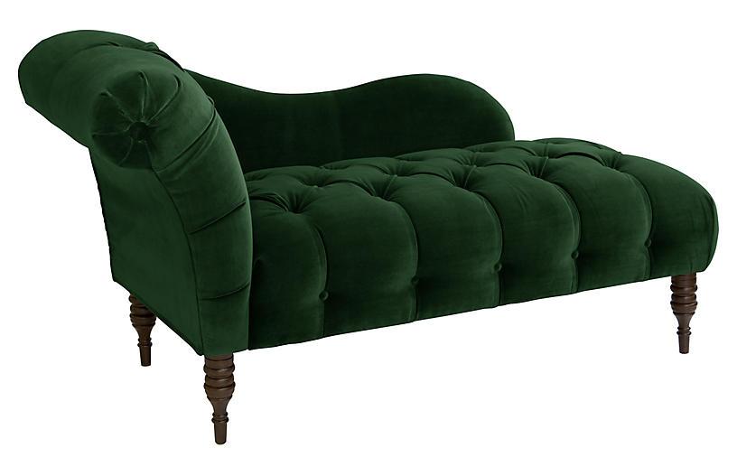 Frances Tufted Chaise, Emerald Velvet