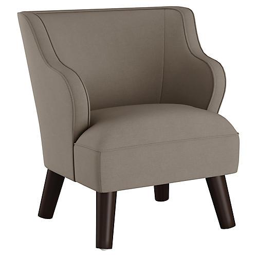 Kira Kids' Accent Chair, Gray Linen
