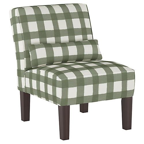 Bergman Accent Chair, Sage Buffalo Check