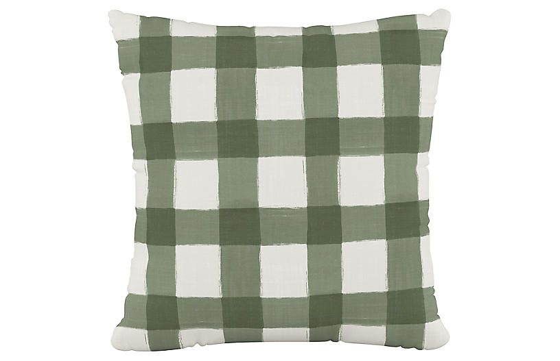 Buffalo Check Cotton Pillow, Green