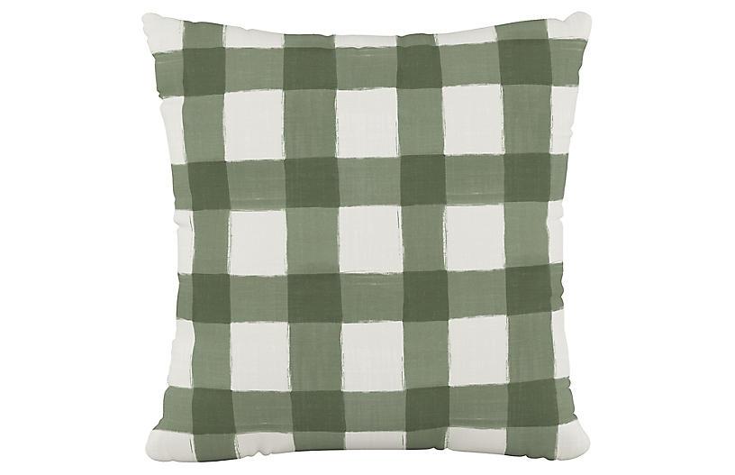 Buffalo Check Cotton Pillow, Green