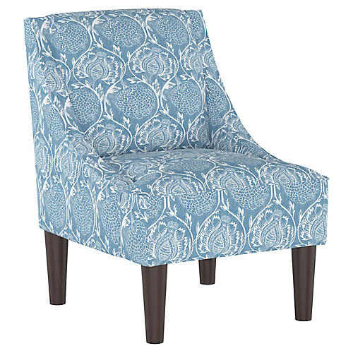 Quinn Swoop-Arm Chair, Floral French Blue